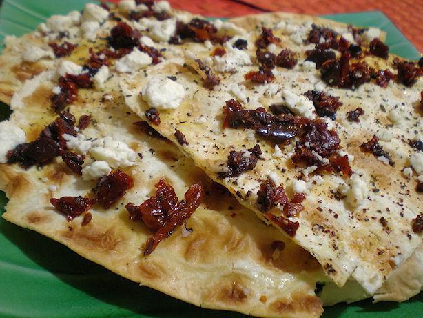 Lavash Pizza With Hummus, Feta and Sun-Dried Tomatoes