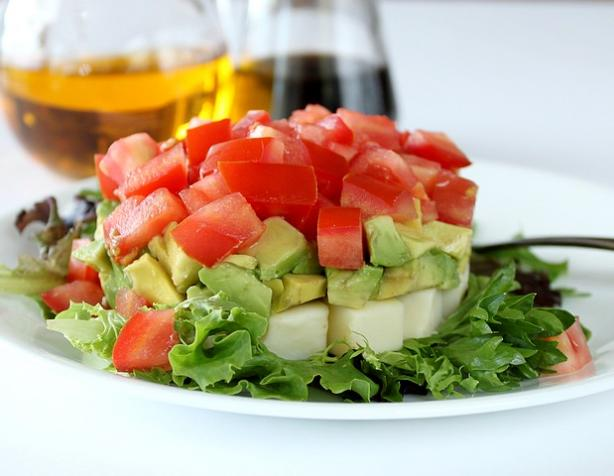 Avocado, Tomato and Mozzarella Tower Salad
