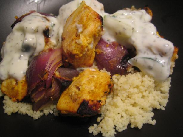 Grilled Tandoori Chicken and Red Onion Skewers With Couscous
