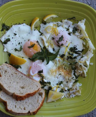 Fried Eggs With Garlic, Lemon and Mint