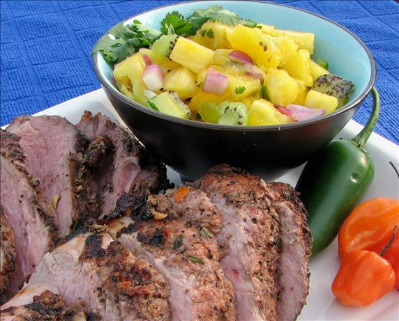 V's Grilled Jerk Pork Tenderloin and Pineapple Mango-Kiwi Salsa
