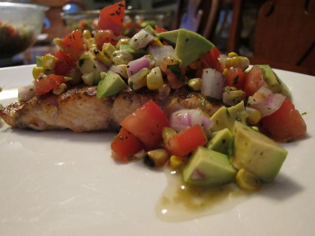 Grilled Salmon With Corn,tomato & Avocado Relish
