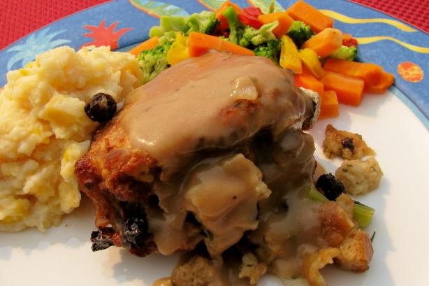 Baked Stuffed Pork Chops and Pan Gravy