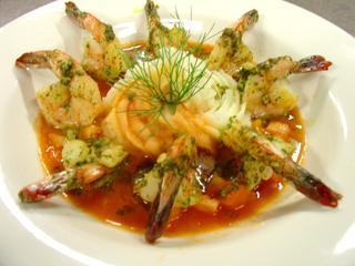 Pesto Shrimp With a Bloody Mary Butter Sauce