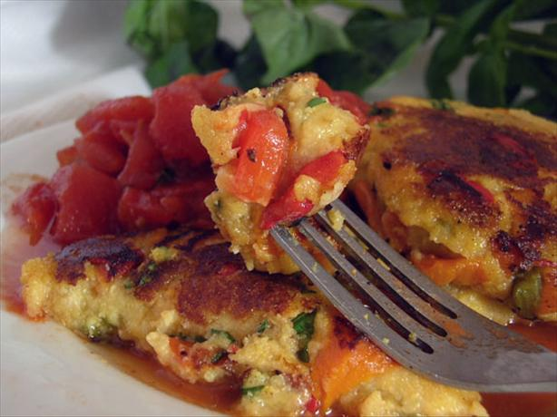 Roast Pepper Polenta Cakes