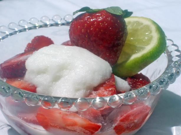 Coconut Ice With Strawberries
