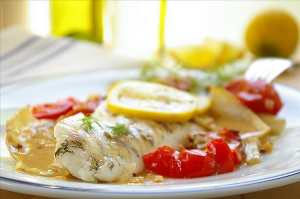 French Style Roasted Perch With Fennel, Tomatoes and Wine