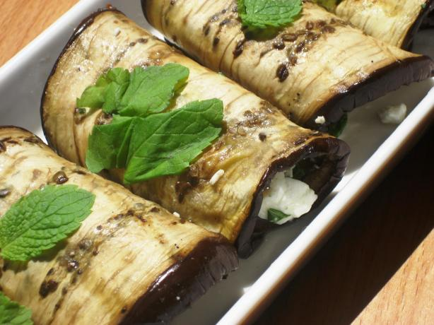 Grilled Aubergine With Feta and Mint Bundles