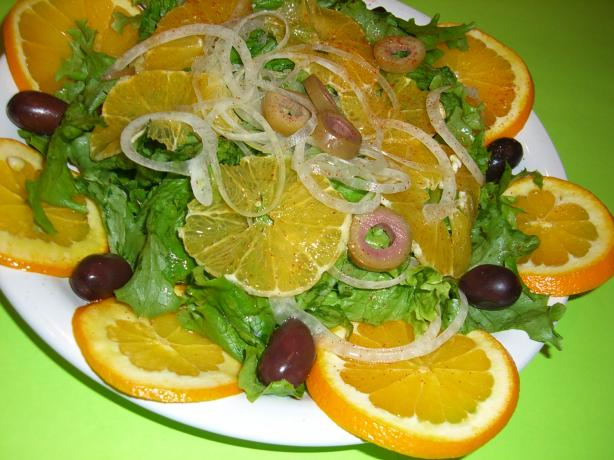 Orange Salad With Onion and Olives
