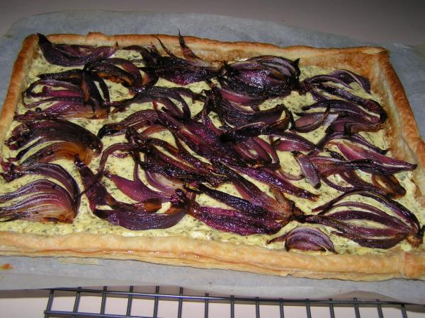 Red Onion, Goat Cheese and Basil Tart