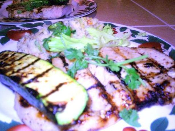 Grilled Butterfly Chops -Jalapeno Stuffing & Zucchini