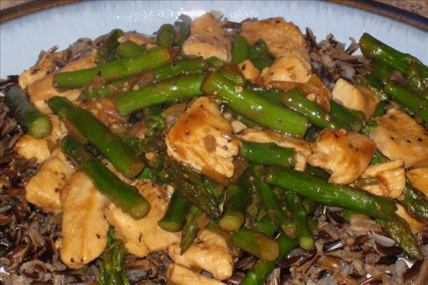 Chicken and Asparagus over Wild Rice