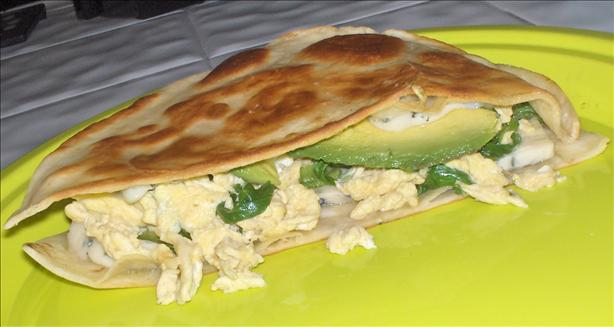 Eggs and Blue Cheese Quesadilla