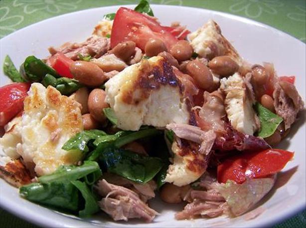 Tuna, Haloumi & Borlotti Bean Salad