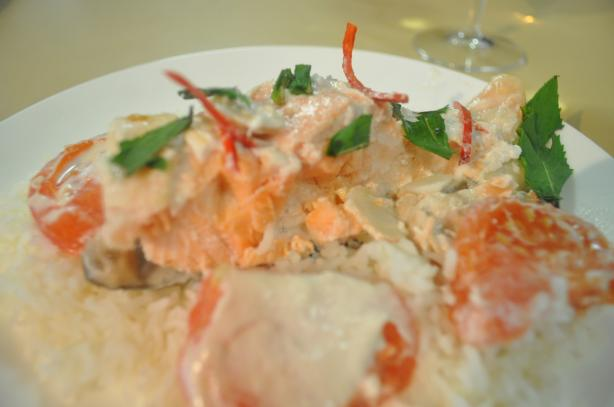Salmon Cooked in Coconut Milk