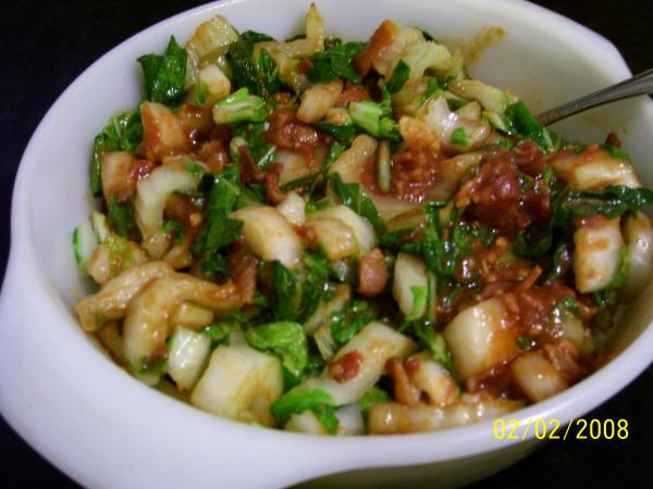 Bok Choy With Hot Bacon Sauce