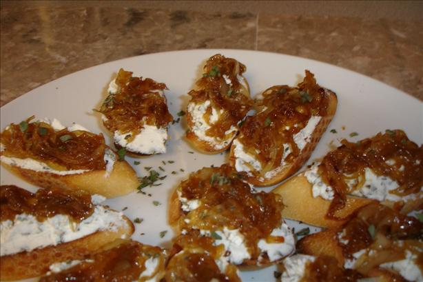 Sage and Goat Cheese Crostini With Caramelized Onions