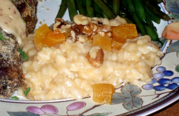Chicken and Cheese Risotto With Caramelized Apricot Topping
