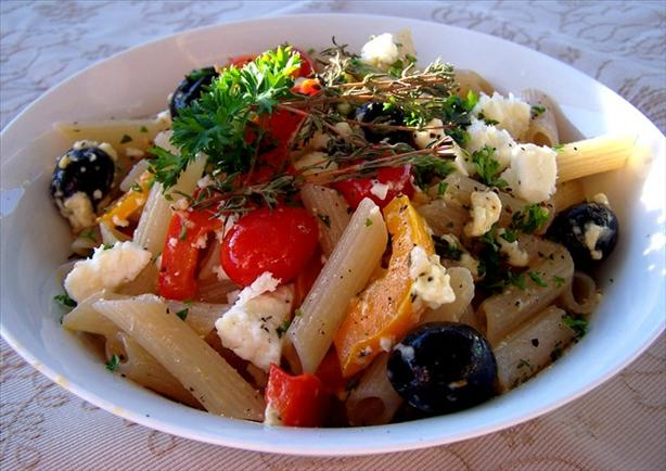Penne Pasta With Feta and Summer Vegetables
