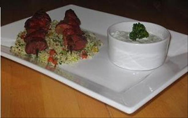 Tandoori Lamb Kebabs With Raita and Couscous