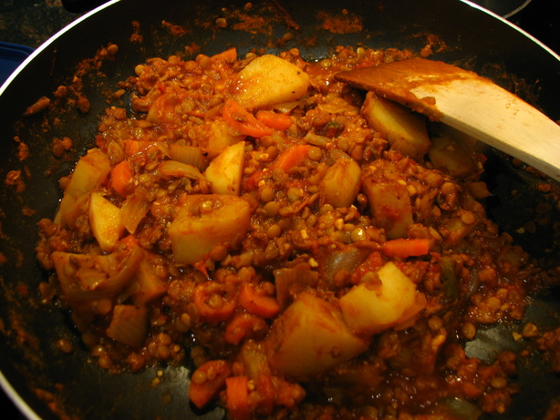 Hamburger Lentil Potato Tomato Stew