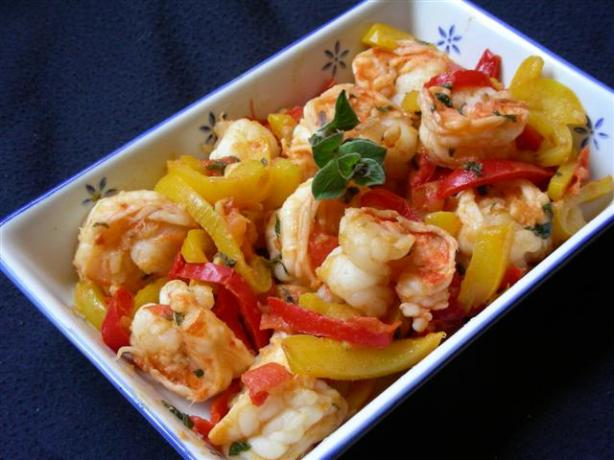 Shrimp With Red and Yellow Peppers