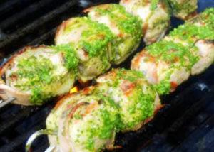 Bacon-Wrapped Pork Medallions With Electric Chimichurri Sauce