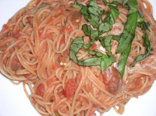 Spaghetti With Eggplant and Goat Cheese