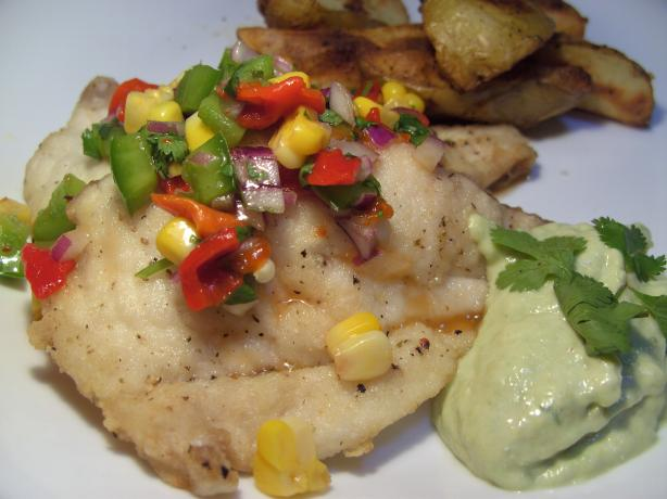 Grilled Fish With Salsa and an Avocado Sauce