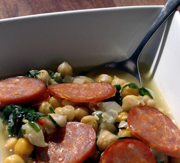 Chickpea Soup With Shredded Kale and Chorizo