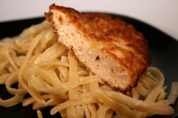 Fried Chicken Asiago W/ Artichoke Fettuccine