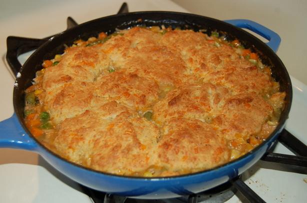 Turkey Pot Pie With Cheddar Biscuit Crust