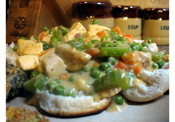 Chicken Pot Pie on Biscuits