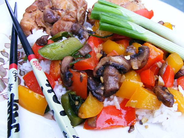 Stir-Fry Mushrooms and Bell Peppers