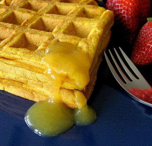 Pumpkin Waffles With Orange Syrup (Low Fat)