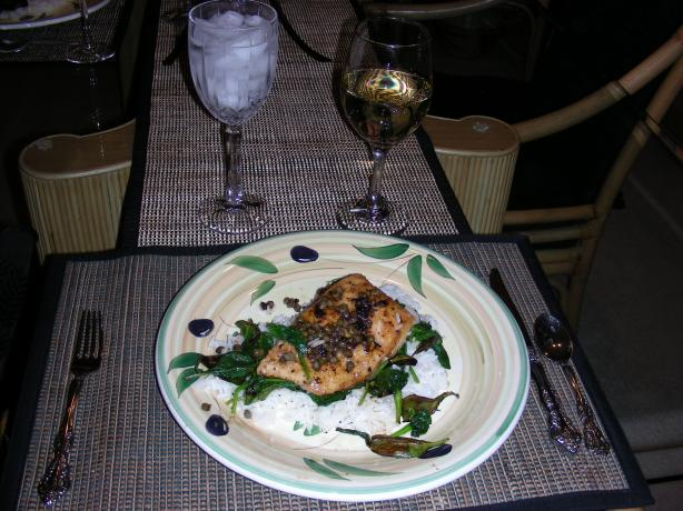 Halibut Piccata With Spinach