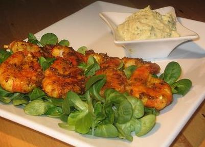 Cajun Prawn Skewers With a Creamy Avocado Sauce