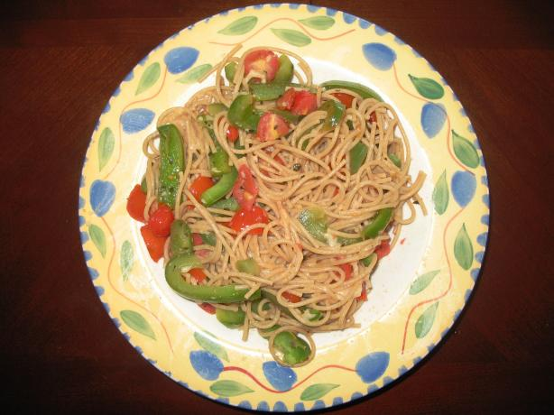 Tomato and Bell Pepper Spaghetti