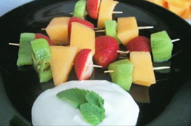 Fruit Kebabs With Honey Cream