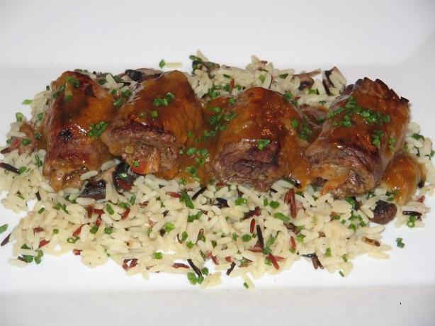 Apricot Veal Rolls on Mushroom Rice