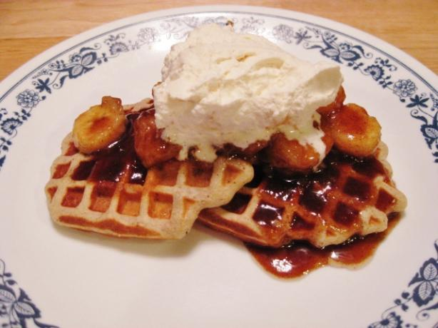 Bananas Foster Waffles W/Ginger Whipped Cream