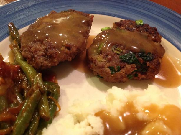 Beef and Bacon Rissoles With Gravy