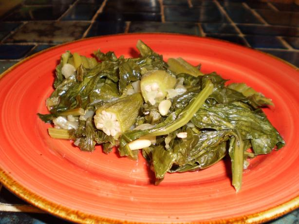 Spicy Okra and Turnip Greens
