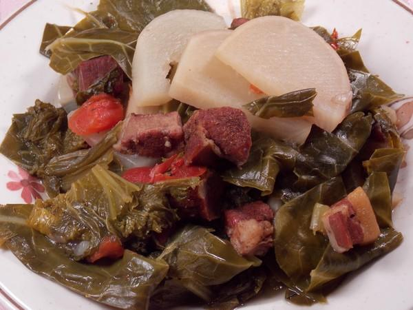 Mixed Greens With Turnips & Tasso