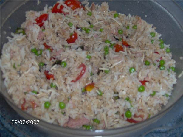 Rice Salad With Cherry Tomatoes, Parmesan, Peas, and Ham