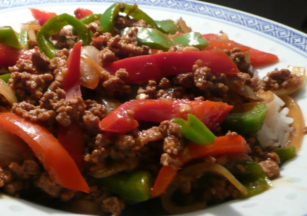 Asian Ground Beef, Pepper and Onion Saute