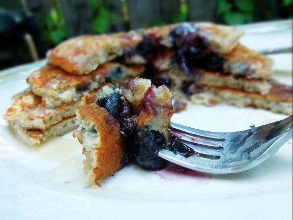Blueberry Brown Sugar Pancakes With Maple Glaze
