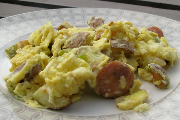 Cajun Scramble With Andouille Sausage