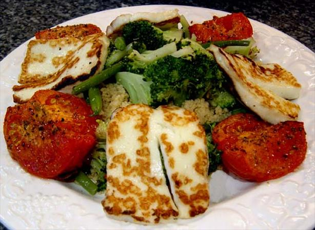 Spiced Couscous With Grilled Halloumi and Steamed Veggies