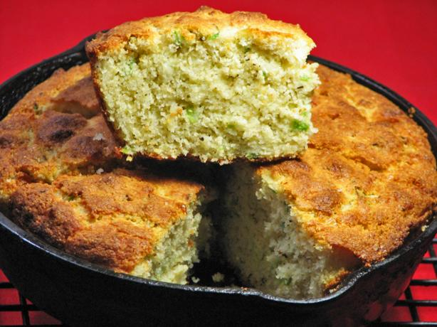 Oh Soooo Good Asiago-Green Onion Cornbread -- Small Iron Skillet